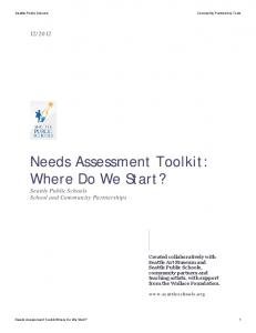 Needs Assessment Toolkit: Where Do We Start?