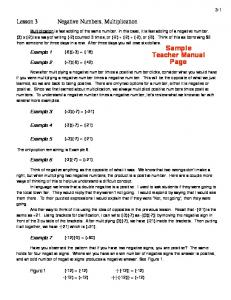 Negative Numbers, Multiplication