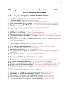 Negative Statements and Questions