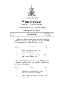 NEGERI SELANGOR. Warta Kerajaan DITERBITKAN DENGAN KUASA GOVERNMENT OF SELANGOR GAZETTE PUBLISHED BY AUTHORITY. No. Tajuk ringkas Muka