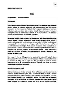 NEGOCIACION COLECTIVA EE.UU. PANORAMA DE LA ACTIVIDAD SINDICAL. Antecedentes