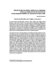 NEGOCIACIÓN DE PODER Y RESPETO: EL COMEDOR POPULAR COMO PUNTO DE ENCUENTRO ENTRE MUJERES POBRES Y EL ESTADO EN CUSCO, PERÚ