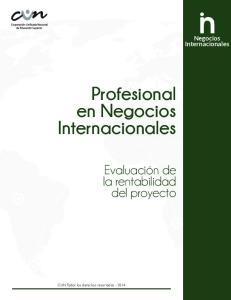 Negocios. Internacionales. Profesional en Negocios. Internacionales. Evaluación de la rentabilidad del proyecto