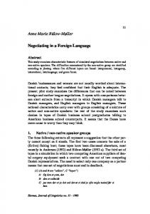 Negotiating in a Foreign Language