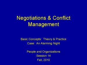 Negotiations & Conflict Management
