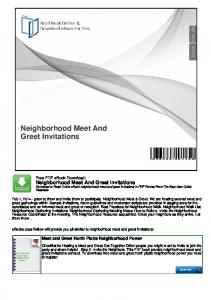 Neighborhood Meet And Greet Invitations