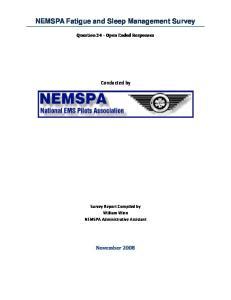 NEMSPA Fatigue and Sleep Management Survey