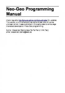 Neo-Geo Programming Manual