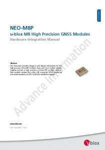 NEO-M8P. u-blox M8 High Precision GNSS Modules. Hardware Integration Manual