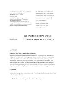 Neoliberalism, managerialism, marketization, body of knowledge, globalization, international social work, history of social work