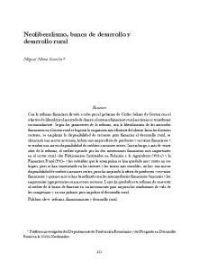 Neoliberalismo, banca de desarrollo y desarrollo rural