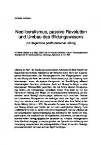 Neoliberalismus, passive Revolution und Umbau des Bildungswesens