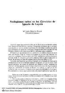 Neologismos cultos en los Ejercicios de Ignacio de Loyola