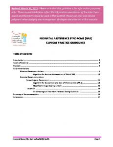 NEONATAL ABSTINENCE SYNDROME (NAS) CLINICAL PRACTICE GUIDELINES
