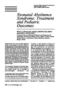 Neonatal Abstinence Syndrome: Treatment and Pediatric. outcomes