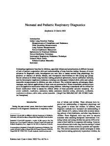 Neonatal and Pediatric Respiratory Diagnostics