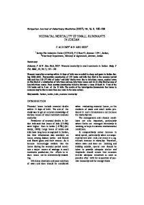 NEONATAL MORTALITY OF SMALL RUMINANTS IN JORDAN