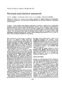 Neonatal renal function assessment