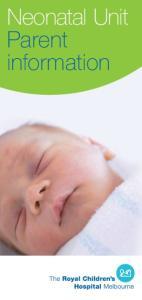 Neonatal Unit Parent information