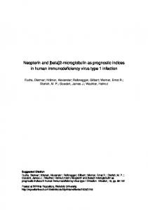Neopterin and [beta]2-microglobulin as prognostic indices in human immunodeficiency virus type 1 infection