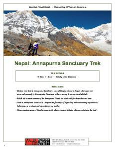Nepal: Annapurna Sanctuary Trek