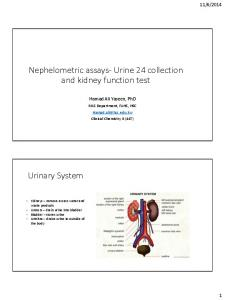 Nephelometric assays- Urine 24 collection and kidney function test