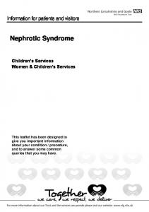 Nephrotic Syndrome. Information for patients and visitors. Children s Services Women & Children s Services