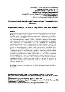 Nephrotoxicity in Recipients of Vancomycin vs. Vancomycin with Vitamin C