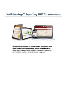 NetAdvantage Reporting Release Notes