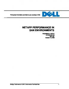 NETAPP PERFORMANCE IN SAN ENVIRONMENTS