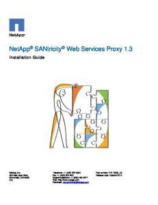 NetApp SANtricity Web Services Proxy 1.3