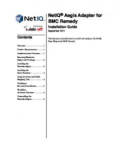 NetIQ Aegis Adapter for BMC Remedy