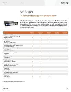 NetScaler. The world s most advanced cloud network platform