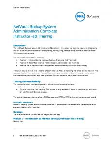NetVault Backup System Administration Complete Instructor-led Training