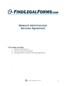 Network Administrator Services Agreement