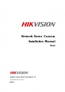 Network Dome Camera Installation Manual