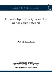 Network-layer mobility in wireless ad hoc access networks