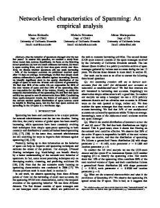 Network-level characteristics of Spamming: An empirical analysis