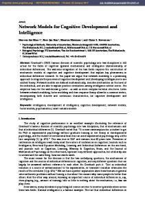 Network Models for Cognitive Development and Intelligence