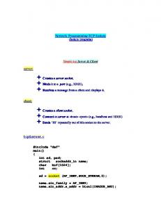 Network Programming-TCP Sockets (lecture programs) Simple tcp Server & Client