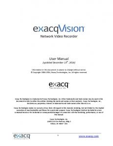 Network Video Recorder. User Manual (updated December 13 th, 2016)