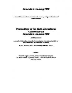 Networked Learning Proceedings of the Sixth International Conference on Networked Learning 2008