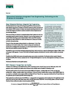 Networked Solutions Integrated Test Engineering: Delivering on the Promise of Innovation