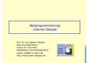 Netzprogrammierung Internet-Dienste