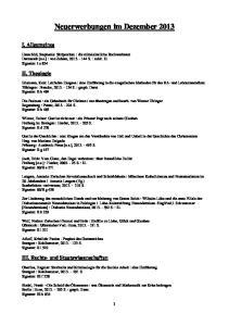 Neuerwerbungen im Dezember 2013