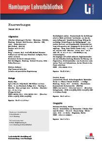 Neuerwerbungen. Januar Allgemeines. Biologie. Geographie. Hamburg. Nachhaltigkeit erleben : Praxisentwürfe für die Bildungsarbeit
