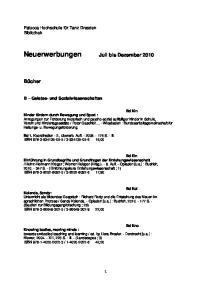 Neuerwerbungen Juli bis Dezember 2010