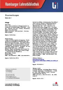 Neuerwerbungen. März Biologie. Hamburg