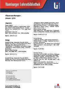 Neuerwerbungen. Oktober Allgemeines. Biologie. Hamburg