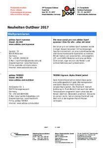 Neuheiten OutDoor 2017